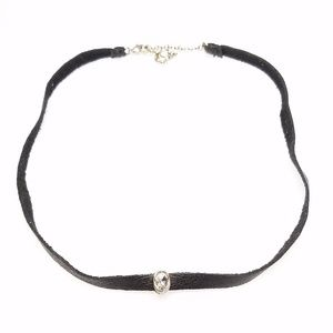 Jewelry - Black Faux Leather Choker Crystal Goth Necklace
